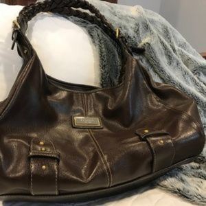 Rosetti Large roomy brown purse braided handles